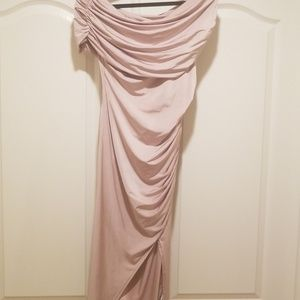 Asos nude midi off the shoulder dress size 8